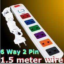 Multi 6 way 2 pin POWER plug switch socket extension 1.5 meter wire AC