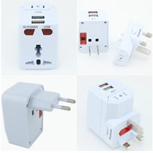Universal World Travel Adapter AC 2 USB Power US/UK/AU/EU Plug