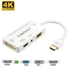 [From USA]CableDeconn Multiport 4-in-1 HDMI to HDMI DVI 4K VGA Adapter  Cable w