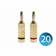 [From USA]Monoprice 24k Gold Plated Speaker Banana Plugs Closed Screw Type (20