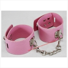 PU Leather Pink Ankle Leg Strap Buckle Lock Bracelet with Chain