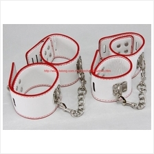 PU Leather White Wrist Hand Ankle Leg Strap Buckle Lock Bracelet Chain