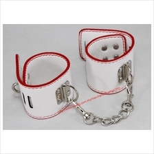 PU Leather White Wrist Hand Strap Buckle Lock Bracelet