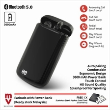 Bluetooth 5.0 TWS Earbuds with Touch Sensor 3600Mah Power Bank Airpods