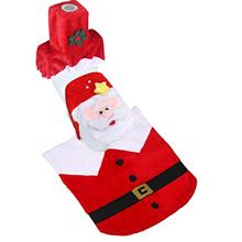 [From USA]DOYOLLA Funny Santa Claus Toilet Seat Cover and Rug Set Red Christma