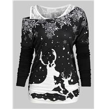 Christmas Elk Snowflake Tee and Lace Tank Top Set (Black)