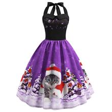 Christmas Hat Cat Print Shirred Sleeveless Dress (Purple)