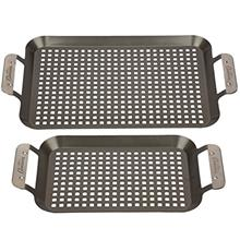 [USA Shipping]Grill Topper BBQ Grilling Pans (Set of 2) - Non-Stick Barbecue T