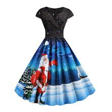 Pleated Christmas Santa Claus Elk Snowman Print Surplice Dress (Black)