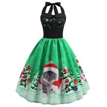 Christmas Hat Cat Print Shirred Sleeveless Dress (Shamrock Green)