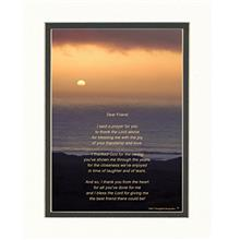 [Free shipping]Friend Gifts with Thank You Prayer for Friend Poem. Ocean Sunse