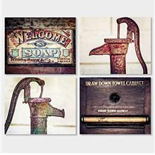 [Free shipping]Rustic Bathroom Wall Art Decor Set of 4 Prints or Matted Prints