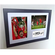 [Free shipping]Signed Black Soccer Steven Gerrard Champions League Winner Live