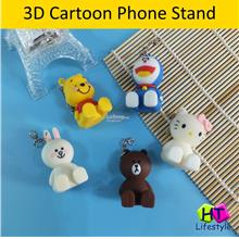3D Cute Cartoon Mobile Phone PVC Stand Holder