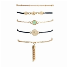 FAUX GEM FRINGED CHAIN BRACELET SET (GOLDEN)