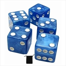 [Free shipping]Set of (5) 16mm Dice Marbleized Standard Square Cornered with B