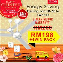 Eco Breeze Ceiling Fan Energy Saving Eco Motor EB6016 Twin Pack -White