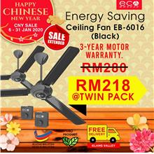 Eco Breeze Ceiling Fan Energy Saving Eco Motor EB6016 Twin Pack -Black