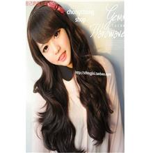 natural black long curve wig 004 /ready stock/rambut palsu