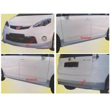 Perodua Alza MUGEN Full Set Skirting Body Kit Front + Side +Rear Skirt