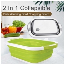 2 In 1 Collapsible Dish Washing Bowl Chopping Board Portable Dish Wash
