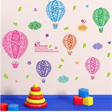 Happy birthday hot air balloon wall stickers removable colorful kids r