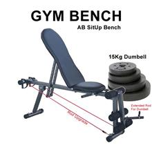 Adjustable Gym ABS Exercise Sit Up Bench Fitness Chair +15KG Dumbbell