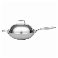 DURABLE MULTIPURPOSE ENERGY SAVING STAINLESS STEEL FRYING PAN (SILVER)