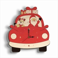 Christmas Day Wooden Clock Wall Clock Santa Claus Deer Home Decoration