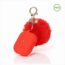 [From USA]ZAHIUS Airpods Pro Silicone Case Skin Protective Cover with Fur Ball