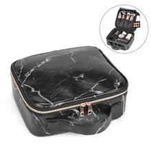 Marble Makeup Bag Portable Travel Pouch Large Cosmetic Case with Adjustable Di