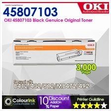 OKI Original Genuine Toner Black 3K (45807103) B412 B432 B512 MB472dnw MB492