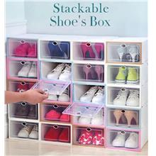 6 Units Stackable Shoe Box Multipurpose Storage Box Foldable Shoes Rack Attach