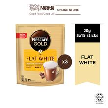 NESCAFE GOLD Flat White 15sticks, 20g Bundle of 3