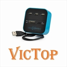 USB 2.0 Hub Splitter 3 Ports USB Multi Card Reader for Micro TF SD MMC