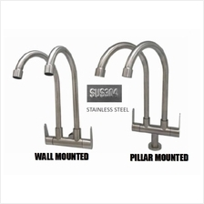 STAINLESS STEEL DOUBLE KITCHEN SINK TAP FAUCET WALL/ PILLAR