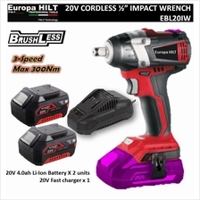 "Europa Hilt 20V Cordless Impact Wrench 1/2"" Hex (Brushless Technology)"