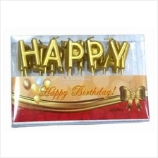 13 Letters Gold Happy Birthday Candles