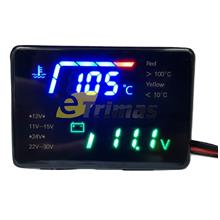 2 In 1 LED Digital Voltmeter Water Temperature Meter Voltage Gauge Display