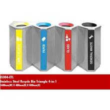 Stainless Steel Recycle Bin Triangle 4 In 1 1600WX400DX800H