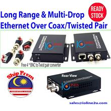 Long Range 2km Multi-drop Ethernet LAN Extender IP over Coaxial cable BNC RG6/