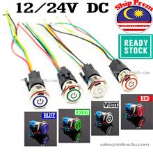 16mm 12V/24V Switch LED Latch type Power Push Button 4 color Angle Eye Stainle