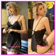 Black Lace Satin Sling Low-Cut Dress Sleepwear Pyjamas Sexy Lingerie