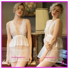 White Lace See-Through Dress G-String Sleepwear Pyjamas Sexy Lingerie