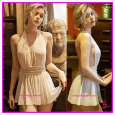 White Halter Backless Babydoll Dress Sleepwear Nightwear Sexy Lingerie