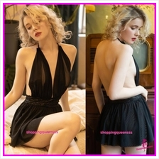 Black Halter Backless Babydoll Dress Sleepwear Nightwear Sexy Lingerie