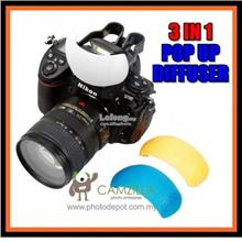 3in1 Pop-up (Built-in) Flash Diffuser for Nikon, Canon, Sony etc.