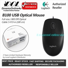 Logitech B100 Full size Optical USB Corded Mouse Three Buttons 800 DPI