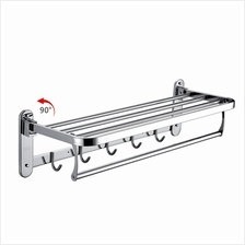Hanso Stainless Steel Adjustable Towel Shelf 80cm Hook Wall Mounted Quality Ha