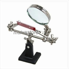 Portable Mini Third Soldering Iron Stand with Magnifying Glass Tool